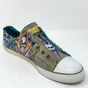 Ed Hardy Sugar Skull Graphic Canvas Sneakers